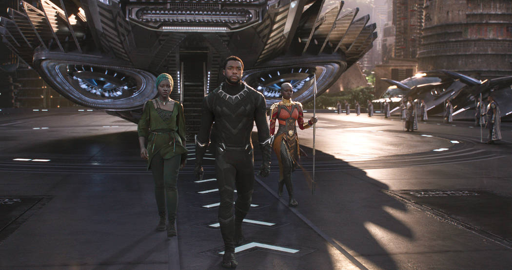 "Marvel Studios'""Black Panther""  Nakia (Lupita Nyong'o), T'Challa/Black Panther (Chadwick Boseman) and Okoye (Danai Gurira)..Ph: Film Frame..©Marvel Studios 2018"