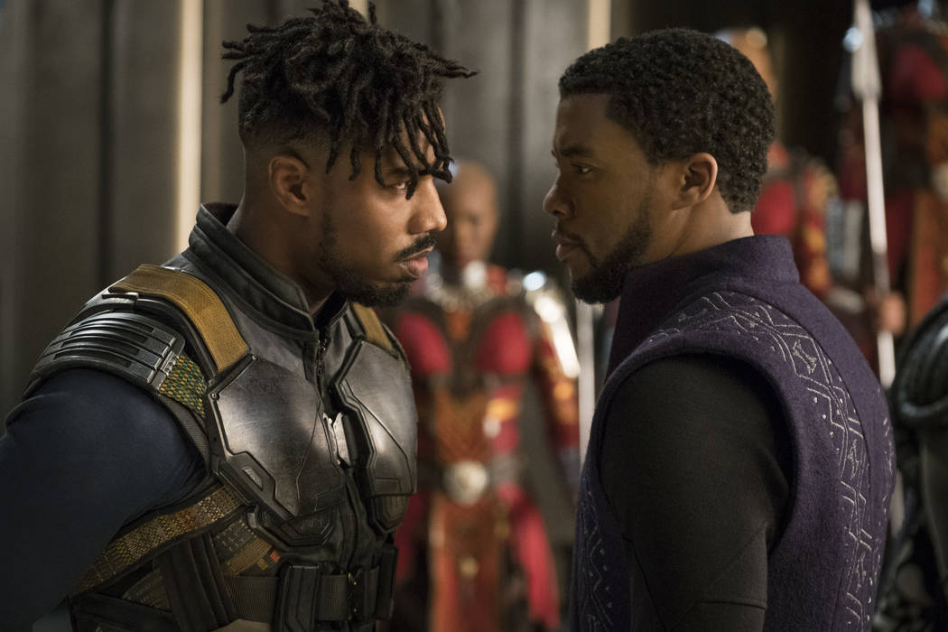 "Marvel Studios' ""Black Panther"" Erik Killmonger (Michael B. Jordan) and T'Challa/Black Panther (Chadwick Boseman)..Photo: Matt Kennedy..©Marvel Studios 2018"