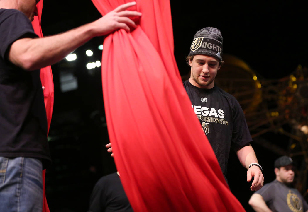 Golden Knights' Brendan Leipsic participates in an off-ice recovery day workout with members of the Cirque du Soleil coaching staff at the Ka Theatre inside the MGM Grand in Las Vegas on Wednesday ...