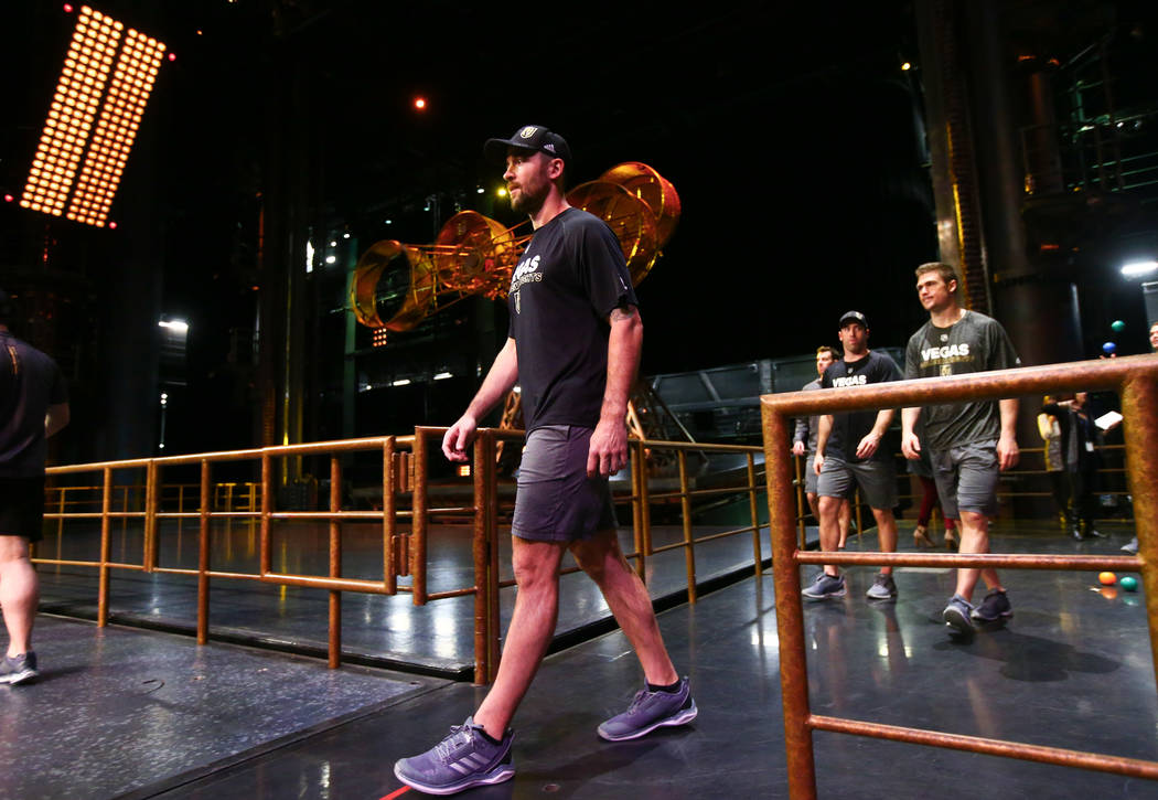 Golden Knights' Deryk Engelland during an off-ice recovery day workout with members of the Cirque du Soleil coaching staff at the Ka Theatre inside the MGM Grand in Las Vegas on Wednesday, Feb. 14 ...