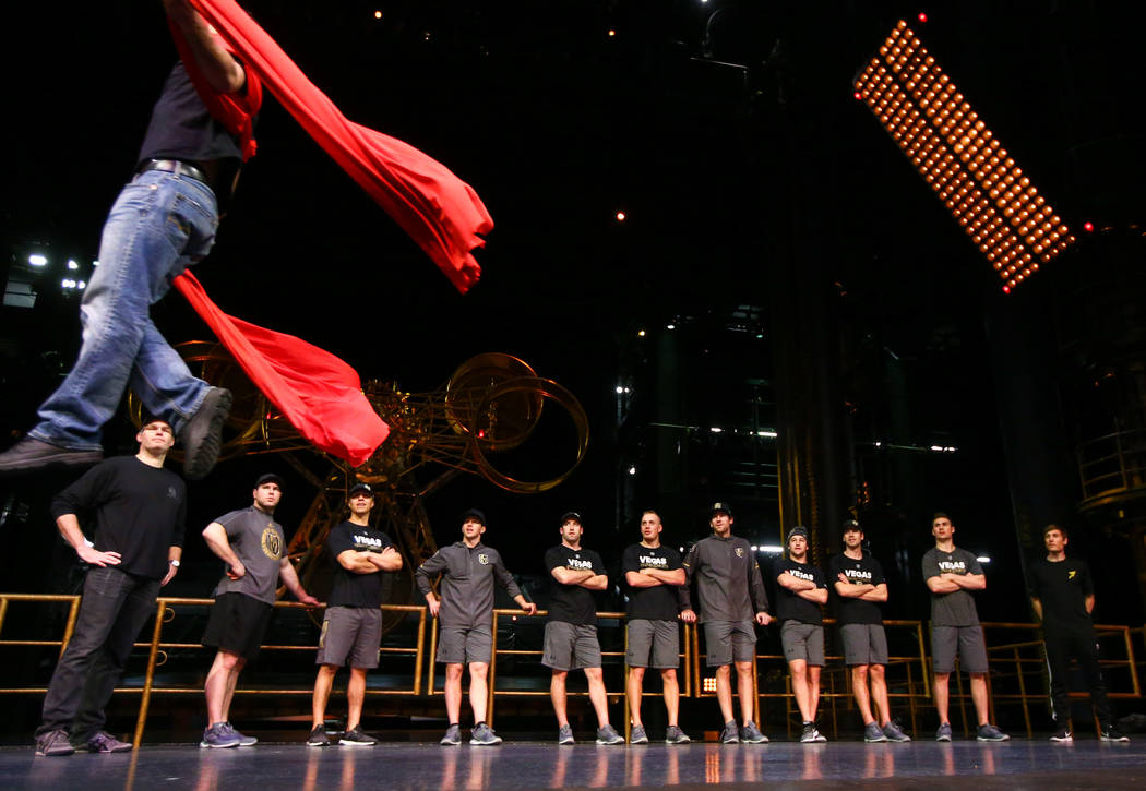 Golden Knights played watch a demonstration during an off-ice recovery day workout with members of the Cirque du Soleil coaching staff at the Ka Theatre inside the MGM Grand in Las Vegas on Wednes ...