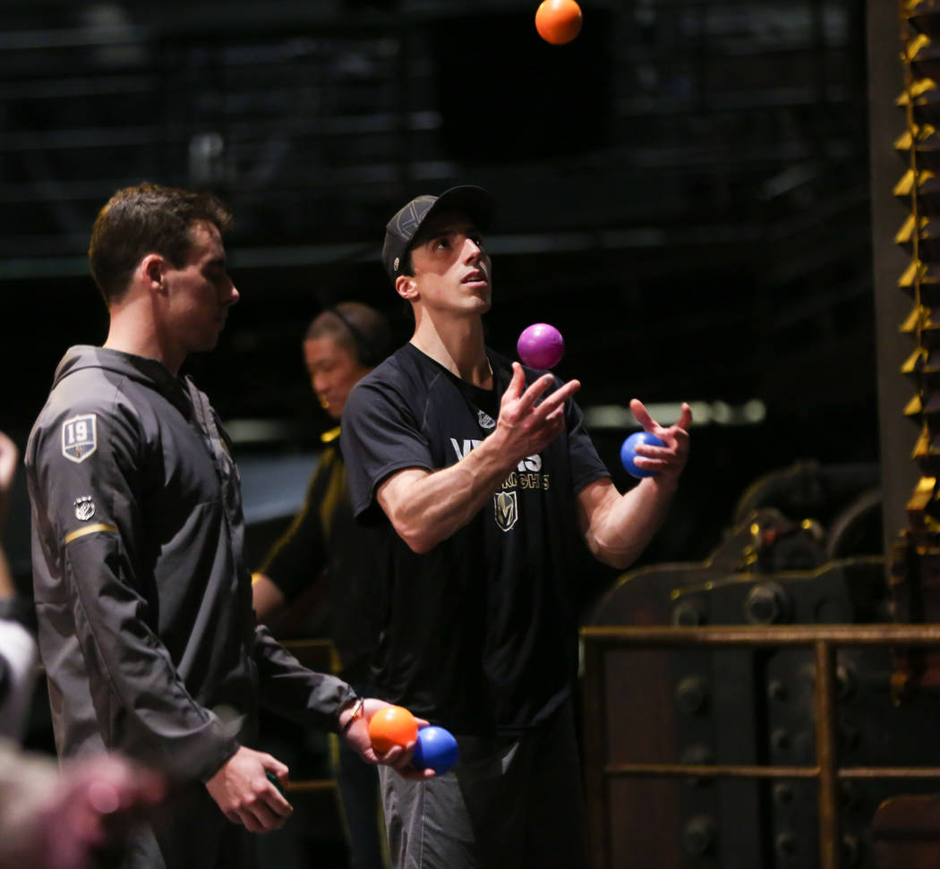Golden Knights' Marc-Andre Fleury juggles while participating in an off-ice recovery day workout with members of the Cirque du Soleil coaching staff at the Ka Theatre inside the MGM Grand in Las V ...