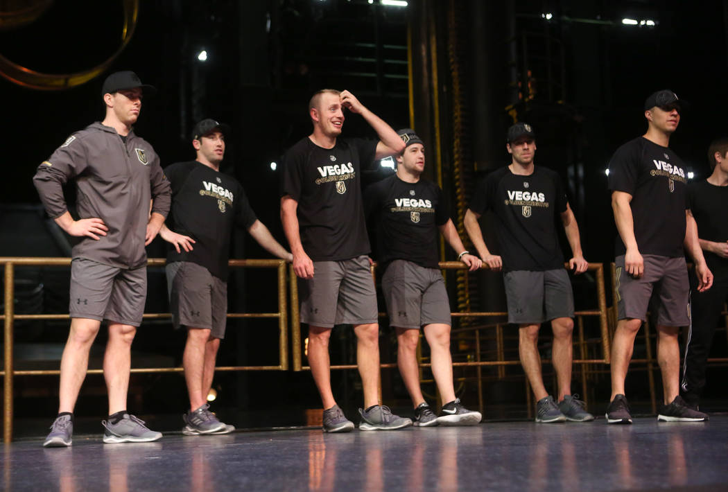 Golden Knights players during an off-ice recovery day workout with members of the Cirque du Soleil coaching staff at the Ka Theatre inside the MGM Grand in Las Vegas on Wednesday, Feb. 14, 2018. C ...