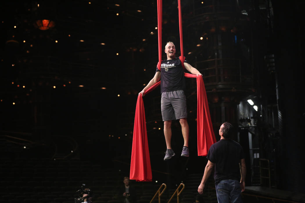 Golden Knights' Nate Schmidt participates in an off-ice recovery day workout with members of the Cirque du Soleil coaching staff at the Ka Theatre inside the MGM Grand in Las Vegas on Wednesday, F ...