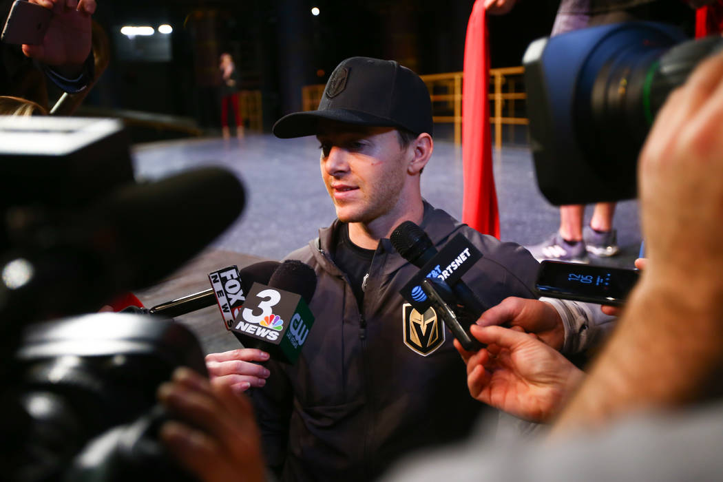 Golden Knights' Jonathan Marchessault during an off-ice recovery day workout with members of the Cirque du Soleil coaching staff at the Ka Theatre inside the MGM Grand in Las Vegas on Wednesday, F ...