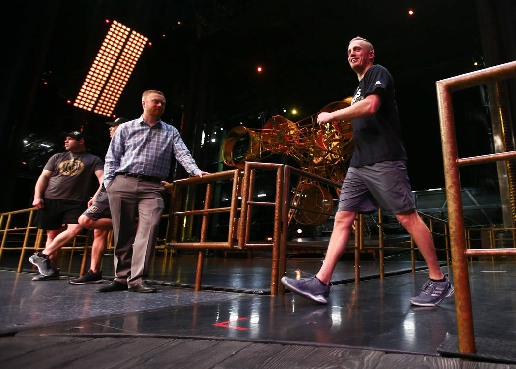 Golden Knights' Nate Schmidt, right, during an off-ice recovery day workout with members of the Cirque du Soleil coaching staff at the Ka Theatre inside the MGM Grand in Las Vegas on Wednesday, Fe ...