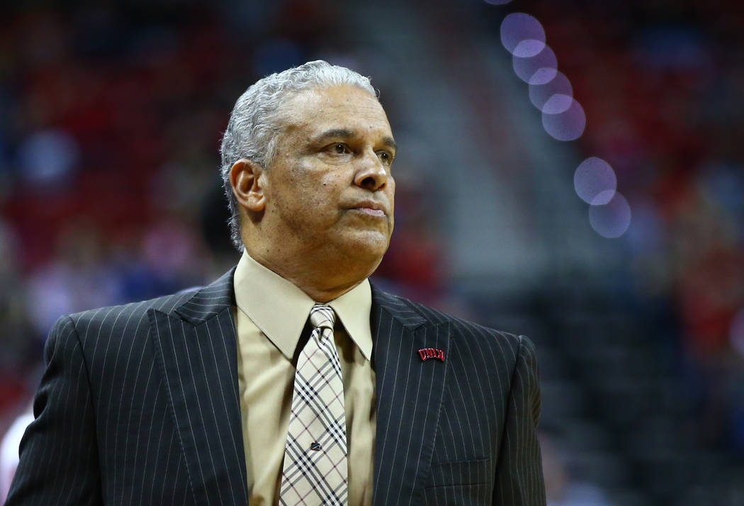 UNLV Rebels head coach Marvin Menzies looks on as his team plays the Air Force Falcons during a basketball game at the Thomas & Mack Arena in Las Vegas on Wednesday, Feb. 14, 2018. Chase Steve ...