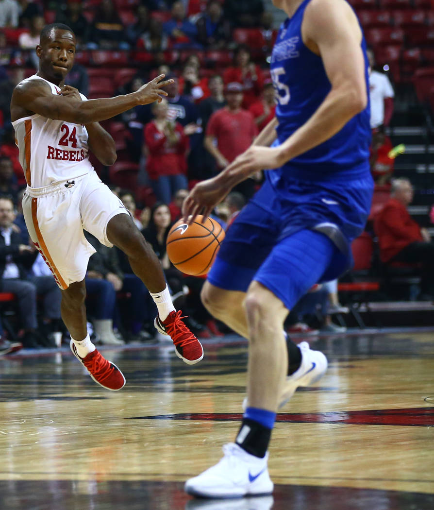 UNLV Rebels guard Jordan Johnson (24) passes the ball during a basketball game against the Air Force Falcons at the Thomas & Mack Arena in Las Vegas on Wednesday, Feb. 14, 2018. Chase Stevens  ...