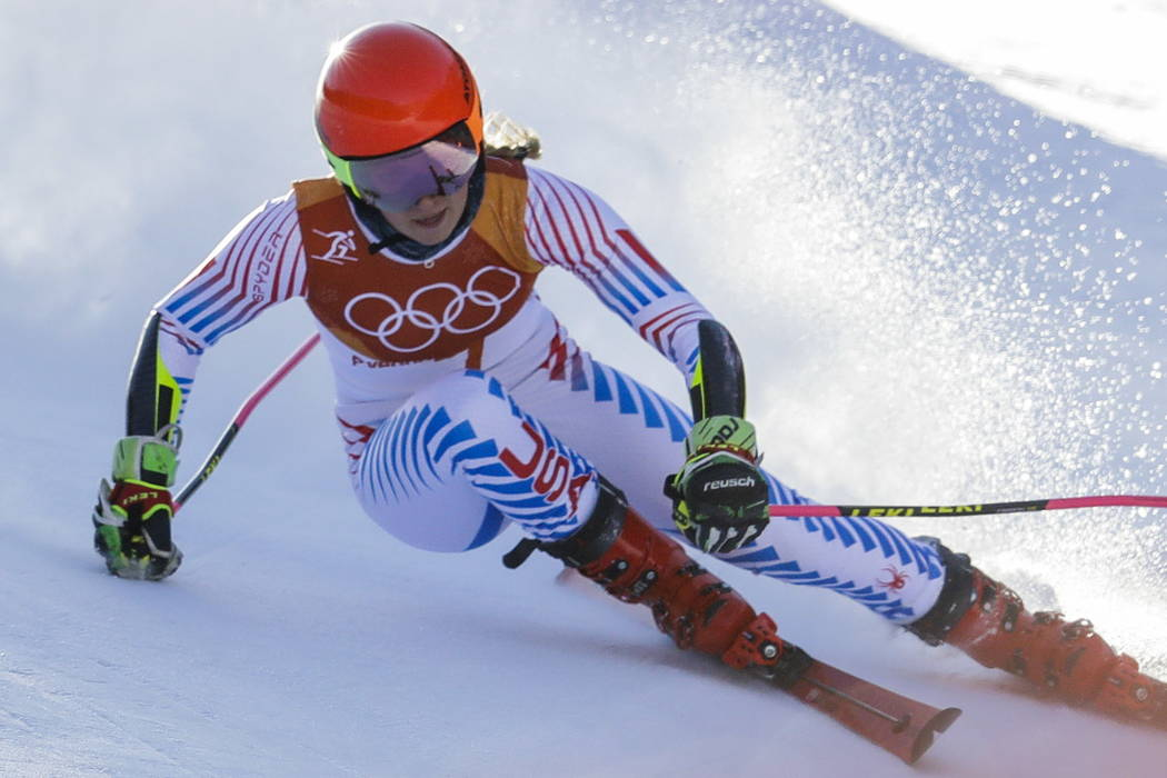 Mikaela Shiffrin, of the United States, skis during the first run of the Women's Giant Slalom at the 2018 Winter Olympics in Pyeongchang, South Korea, Thursday, Feb. 15, 2018., Thursday, Feb. 15,  ...