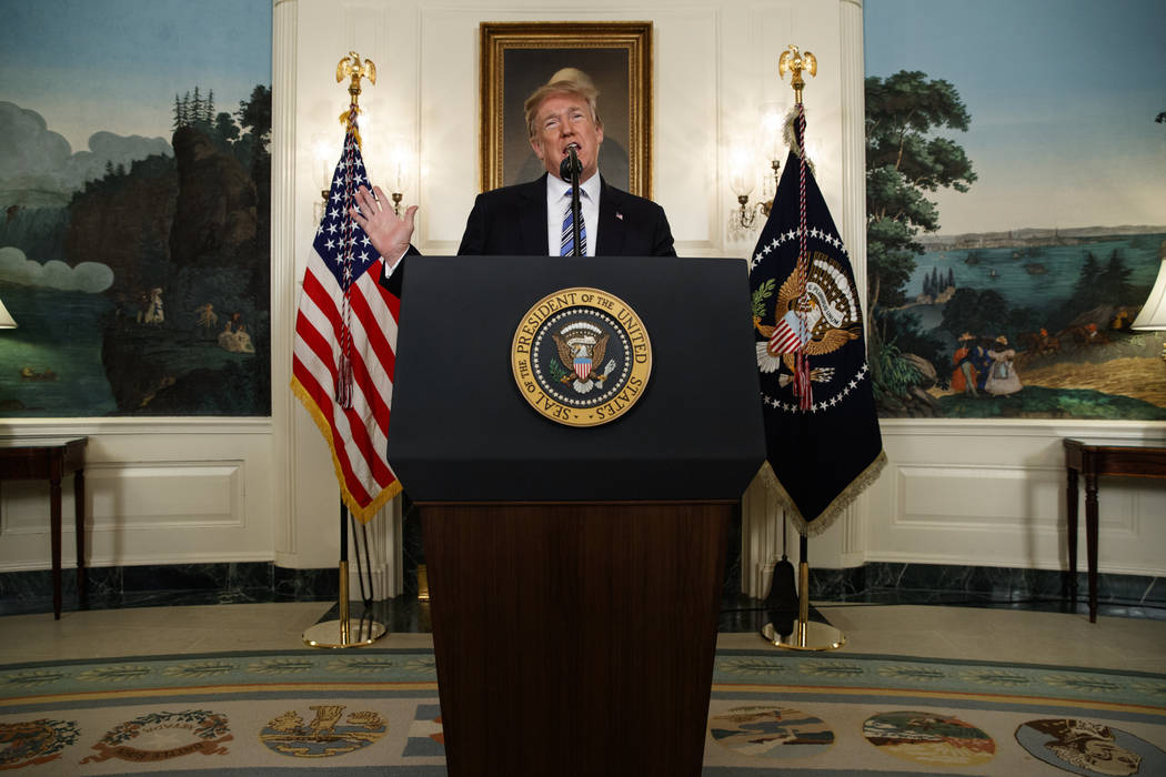 President Donald Trump delivers a statement on the mass shooting at a South Florida High School from the White House, Thursday, Feb. 15, 2018, in Washington. (AP Photo/Evan Vucci)
