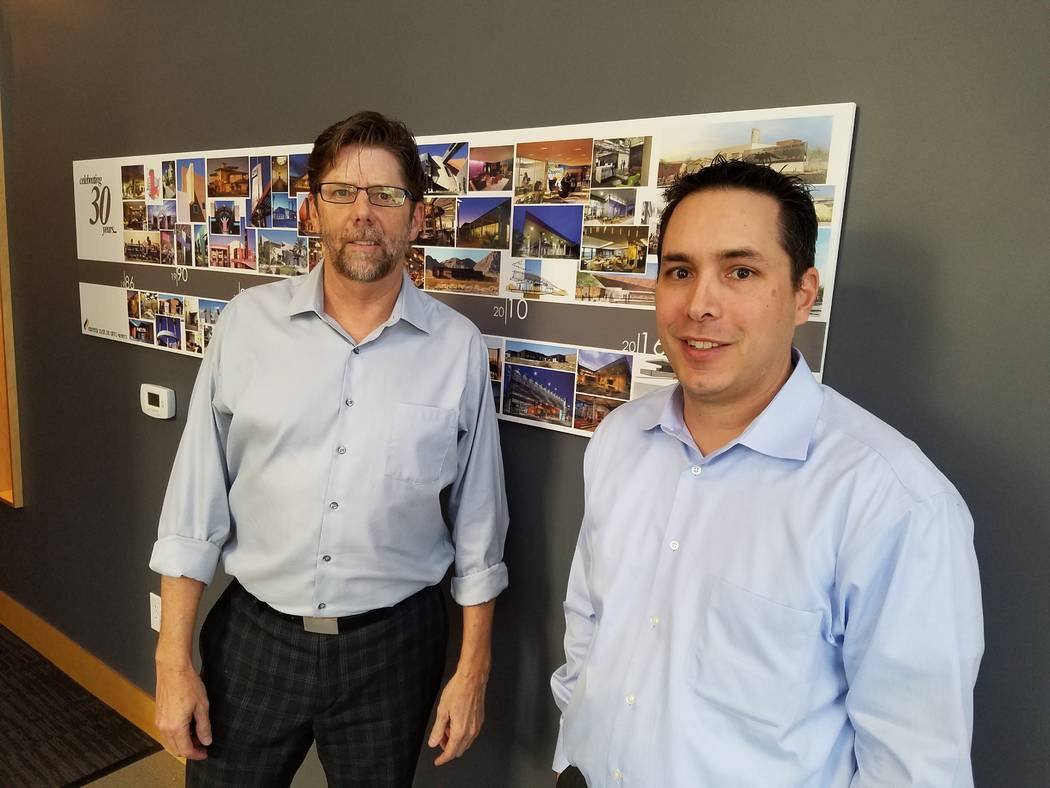 Rick Sellers and Michael Del Gatto are the principals of Sellers Del Gatto Architects in Las Vegas, shown Jan. 31, 2018 at their office. Richard N. Velotta/Las Vegas Review-Journal