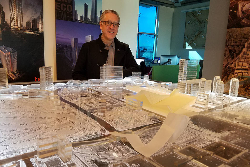 Windom Kinsey, principal and CEO of TSK Architects, Henderson, stands before a model of the planned Las Vegas Convention Center expansion at his office on Jan. 23, 2018. Richard N. Velotta/Las Veg ...