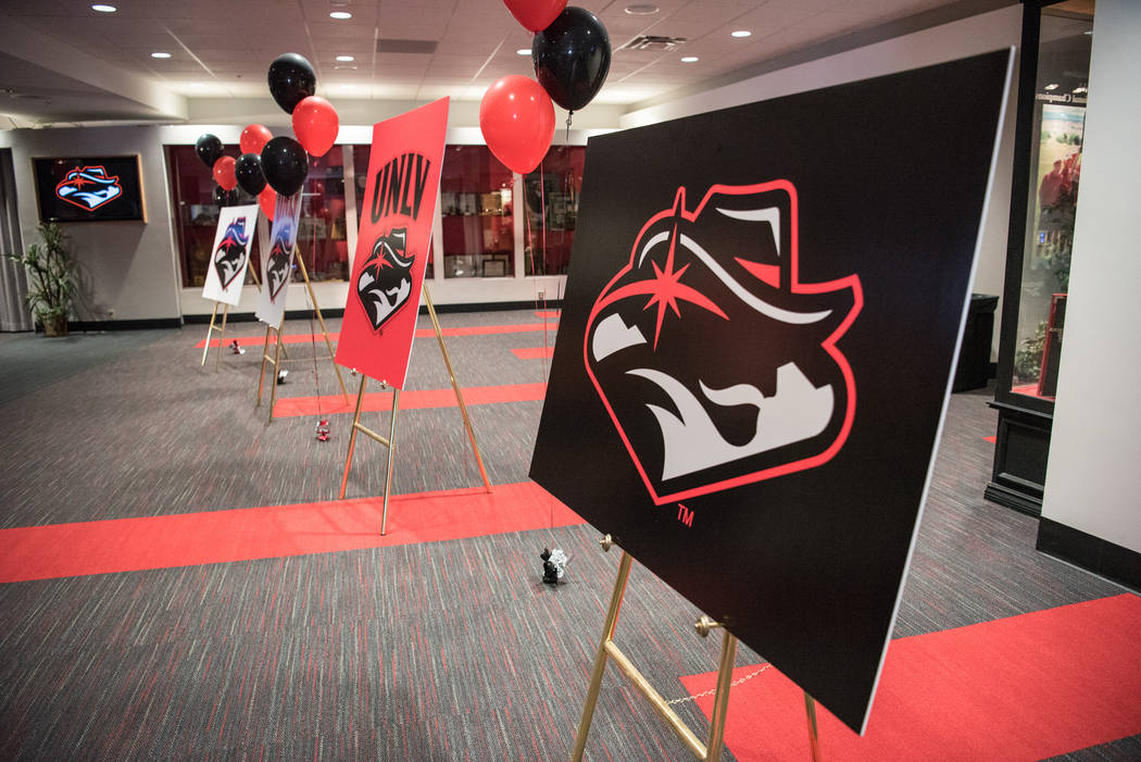 The new UNLV logo after its unveiling at the UNLV  Thomas & Mack Center on Wednesday, June 28, 2017, in Las Vegas. Morgan Lieberman Las Vegas Review-Journal