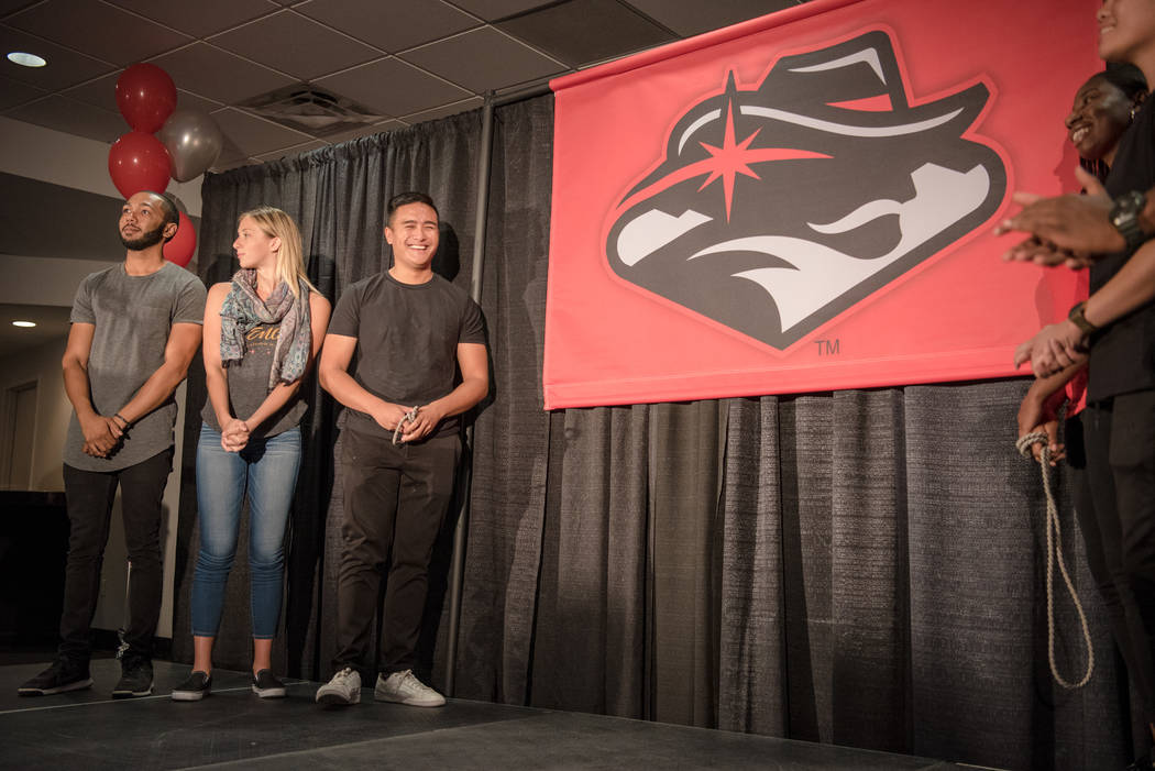 UNLV students that participated in the graphic design process of the new logo stand on stage during the unveiling at the UNLV Thomas & Mack Center on Wednesday, June 28, 2017, in Las Vegas. Mo ...