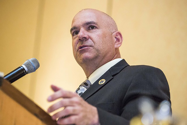 James Dzurenda, the Nevada Department of Corrections director, speaks during officer graduation at Texas Station in May. He said in a recent interview that the state is way behind the curve in inm ...