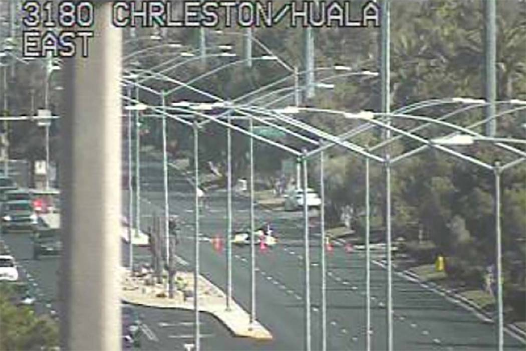 One person was hospitalized after a two-vehicle crash on West Charleston Boulevard and Apple Drive, near Hualapai Way, Thursday, Feb. 15, 2018. (RTC FAST Cameras)