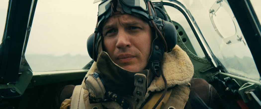 """TOM HARDY as Farrier in the Warner Bros. Pictures action thriller """"DUNKIRK,"""" a Warner Bros. Pictures release. Photo Credit: Melinda Sue Gordon"""