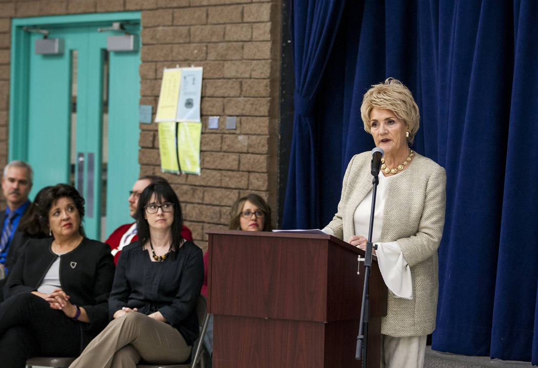 Former First Lady of Nevada Sandy Miller speaks at an announcement of the Fund Our Future Nevada campaign at Bill Y. Tomiyasu Elementary School in Las Vegas on Tuesday, Feb. 13, 2018.  Patrick Con ...