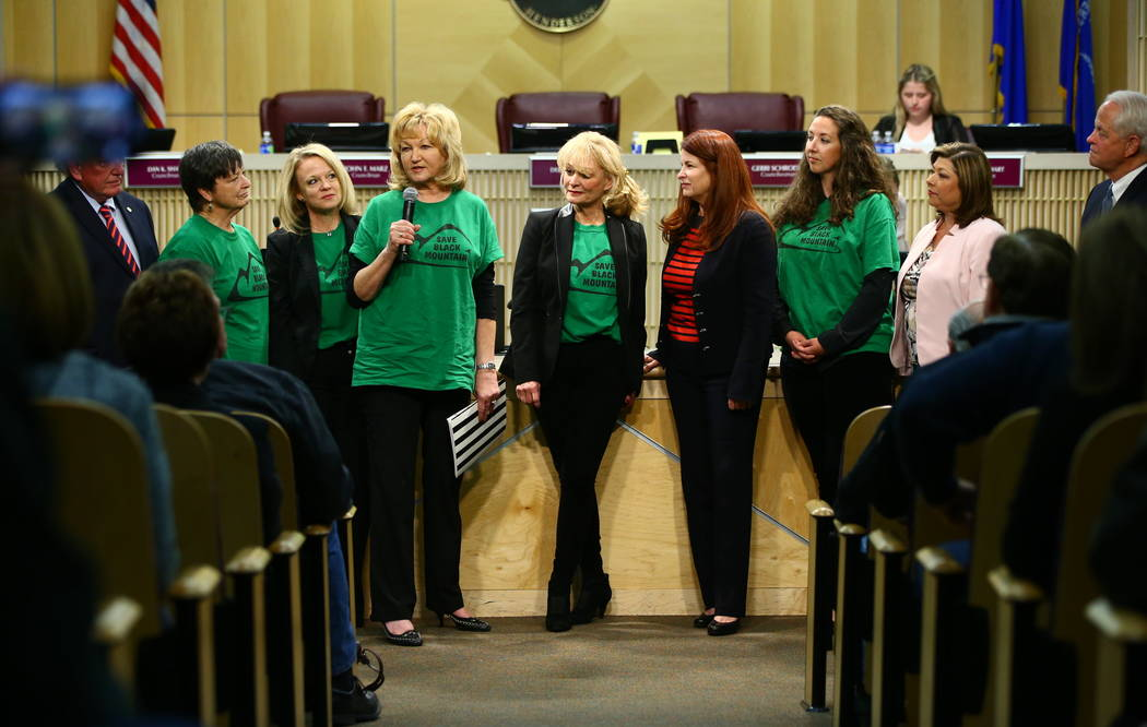 Denell Hahn, center left, of the Black Mountain Neighborhood Association speaks as the group is recognized during a Henderson City Council meeting on Tuesday, Feb. 20, 2018. The Black Mountain Gol ...