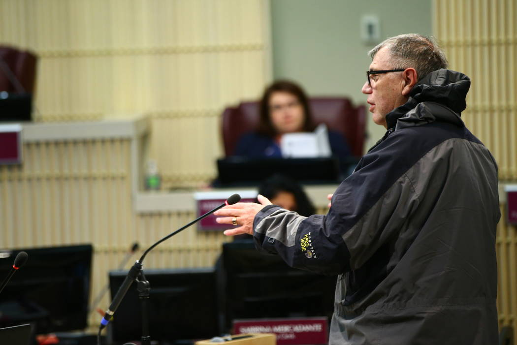 Rocky Ortega, a resident of the Legacy Golf Course, speaks during a Henderson City Council meeting on Tuesday, Feb. 20, 2018. Chase Stevens Las Vegas Review-Journal @csstevensphoto