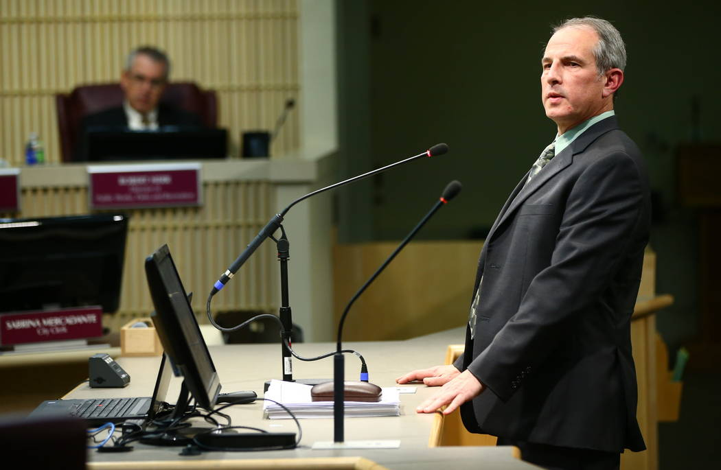 Eddie Dichter, a principal planner with the community development and services department, speaks during a Henderson City Council meeting on Tuesday, Feb. 20, 2018. Chase Stevens Las Vegas Review- ...