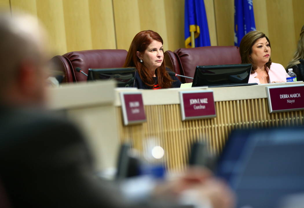 Henderson Mayor Debra March, left, and councilwoman Gerri Schroder listen to comments during a Henderson City Council meeting on Tuesday, Feb. 20, 2018. Chase Stevens Las Vegas Review-Journal @css ...