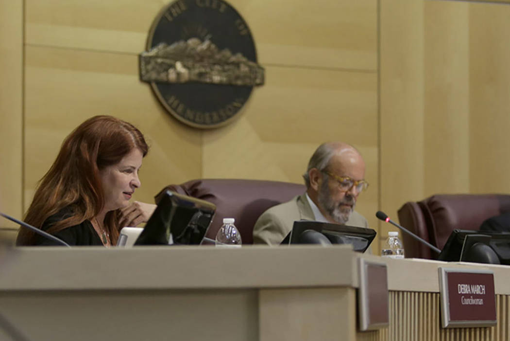 Henderson Mayor Debra March, left, and City Council Ward III Councilman John Marz are seen during a 2017 meeting. (Las Vegas Review-Journal)