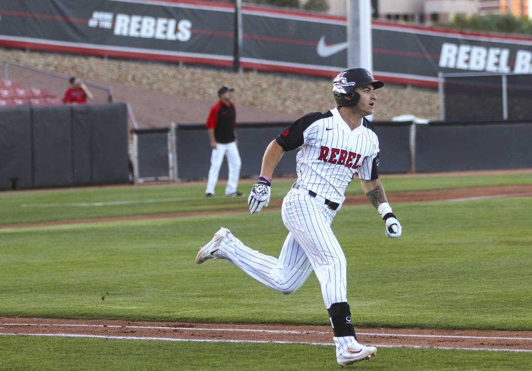 UNLV infielder Kyle Isbel (5) rounds the bases on a home run during a baseball game against New Mexico at Wilson Stadium in Las Vegas on Friday, March 24, 2017. (Chase Stevens/Las Vegas Review-Jou ...