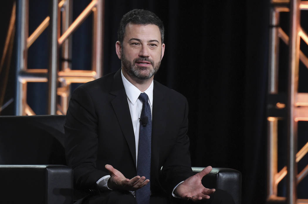 """Jimmy Kimmel participates in the """"Jimmy Kimmel Live and 90th Oscars"""" panel during the Disney/ABC Television Critics Association Winter Press Tour in Pasadena, Calif., in January. (Photo by Richard ..."""