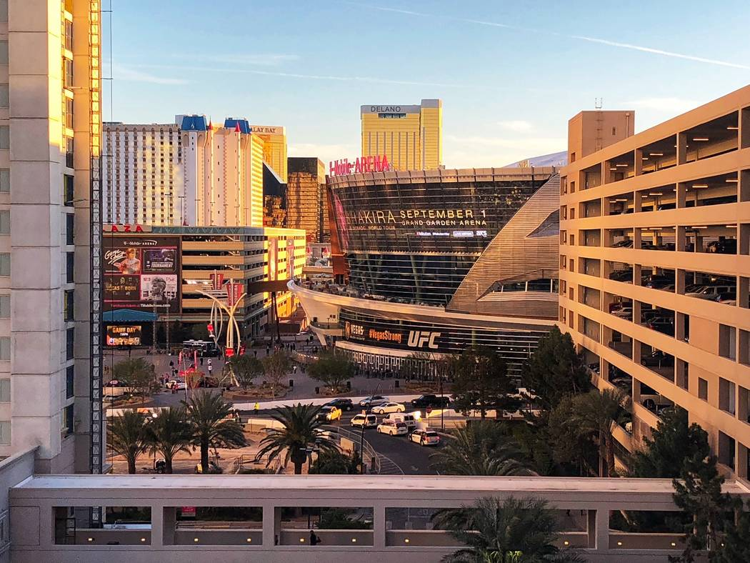 The Aria's new convention center's ballroom has expansive views of the city skyline seen Thursday, Feb. 15, 2018, in Las Vegas. Todd Prince/Review-Journal