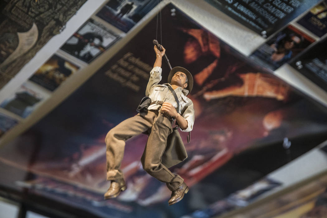 An Indiana Jones figurine hanging from the ceiling of Actor Ben Stobber's Las Vegas home on Thursday, February 15, 2018. Benjamin Hager Las Vegas Review-Journal @benjaminhphoto