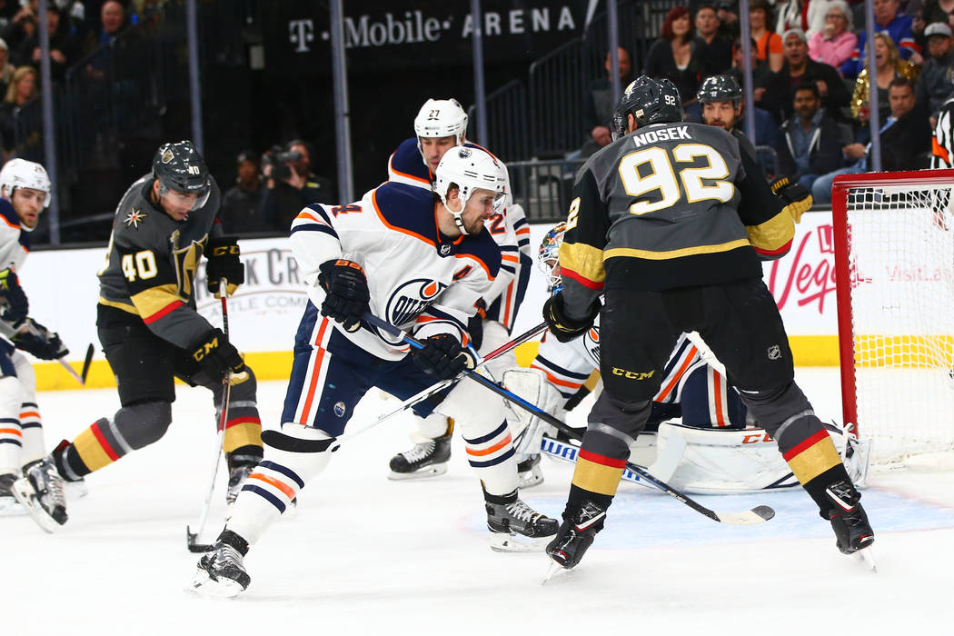 Golden Knights center Ryan Carpenter (40) goes in to score a goal against the Edmonton Oilers during an NHL game at T-Mobile Arena in Las Vegas on Thursday, Feb. 15, 2018. Chase Stevens Las Vegas  ...