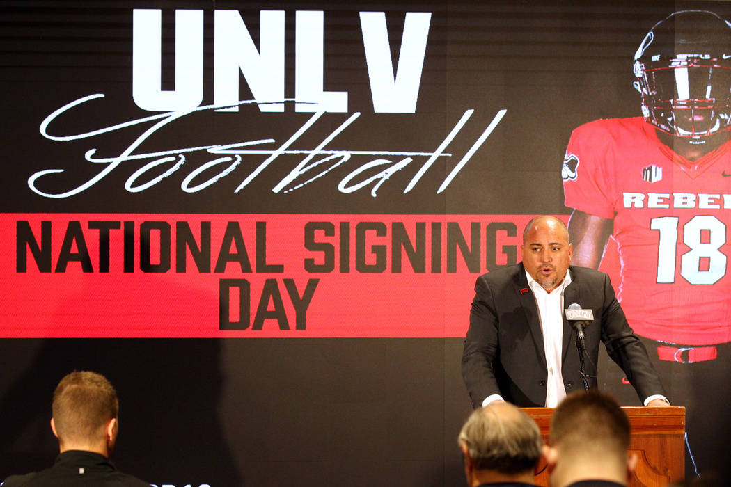 UNLV football coach Tony Sanchez announces his signing class in Si Redd Room at the Thomas & Mack Center Wednesday, Feb. 7, 2018. K.M. Cannon Las Vegas Review-Journal @KMCannonPhoto