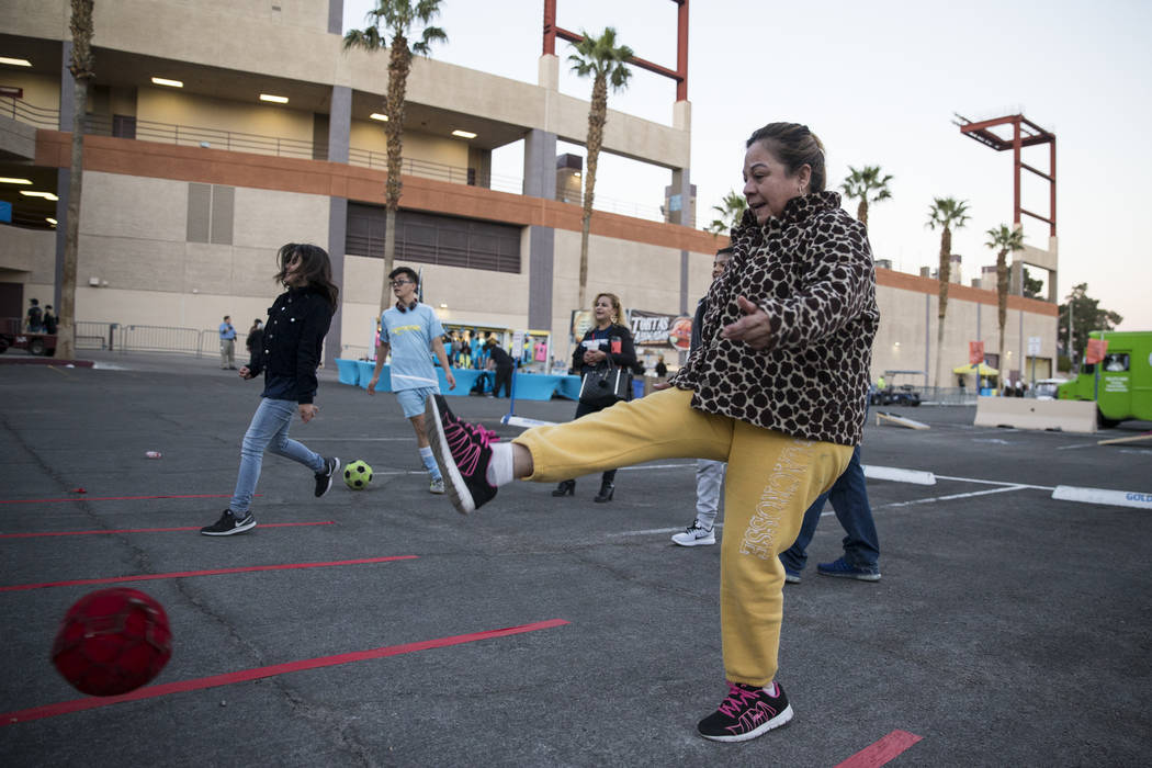 Maria Martinez kicks a ball outside of Cashman Field before a game between the Las Vegas Lights FC and the Vancouver Whitecaps FC in Las Vegas, Saturday, Feb. 17, 2018. Erik Verduzco Las Vegas Rev ...