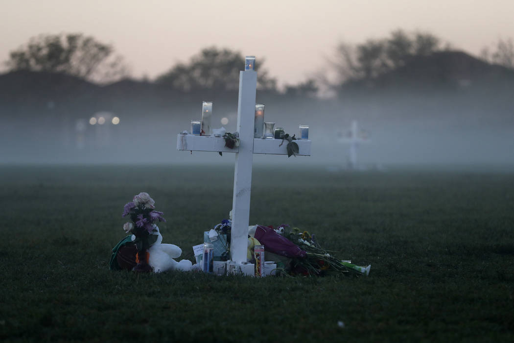 An early morning fog rises where 17 memorial crosses were placed, for the 17 deceased students and faculty from the Wednesday shooting at Marjory Stoneman Douglas High School, in Parkland, Fla., S ...
