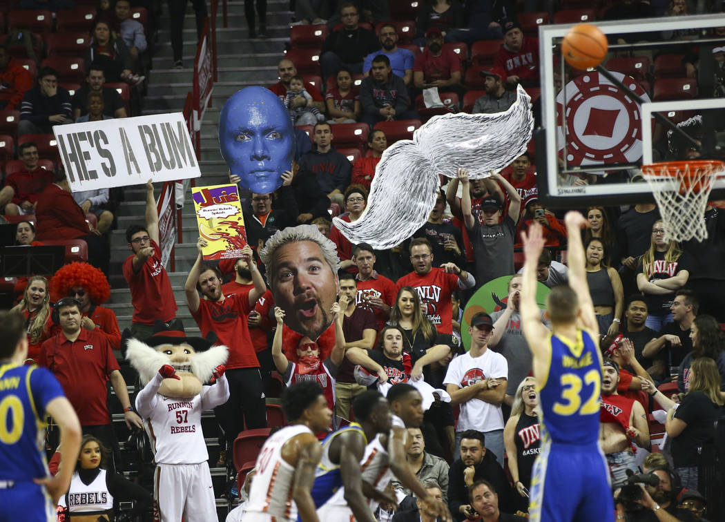 UNLV Rebels fans in the student section react as San Jose State Spartans forward Ryan Welage (32) shoots a free throw during a basketball game at the Thomas & Mack Center in Las Vegas on Wedne ...