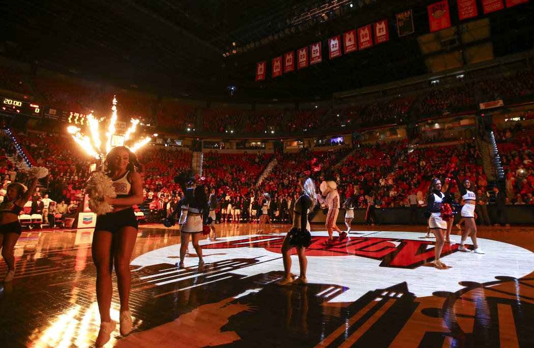 UNLV cheerleaders and Hey Reb! perform before the start of a basketball game against the San Jose State Spartans at the Thomas & Mack Center in Las Vegas on Wednesday, Jan. 31, 2018. Chase Ste ...