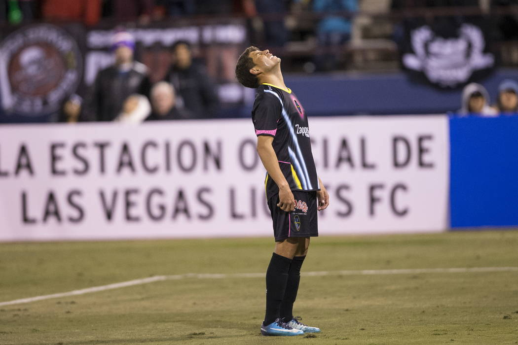 Las Vegas Lights FC's Juan Jose Calderon (10) reacts after missing a shot at the goal during the first half of the exhibition soccer game at Cashman Field in Las Vegas, Saturday, Feb. 24, 2 ...