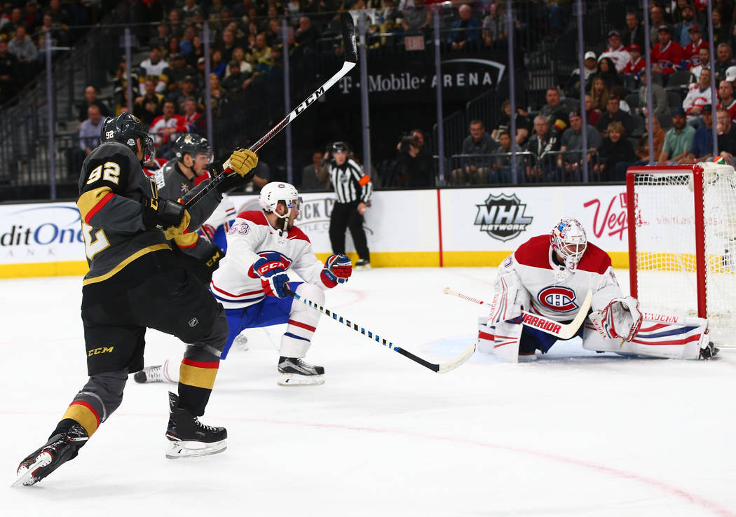 Golden Knights left wing Tomas Nosek (92) scores against Montreal Canadiens goaltender Antti Niemi (37) during an NHL hockey game at T-Mobile Arena in Las Vegas on Saturday, Feb. 17, 2018. Chase S ...