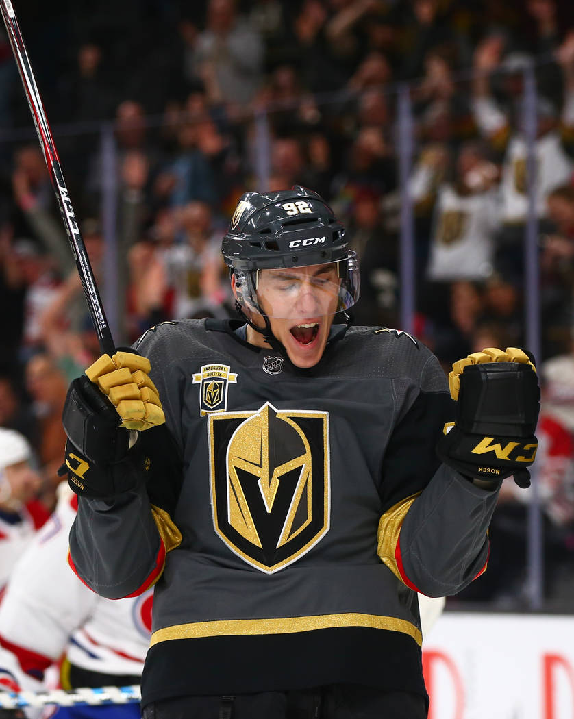 Golden Knights left wing Tomas Nosek (92) reacts after scoring against the Montreal Canadiens during an NHL hockey game at T-Mobile Arena in Las Vegas on Saturday, Feb. 17, 2018. Chase Stevens Las ...