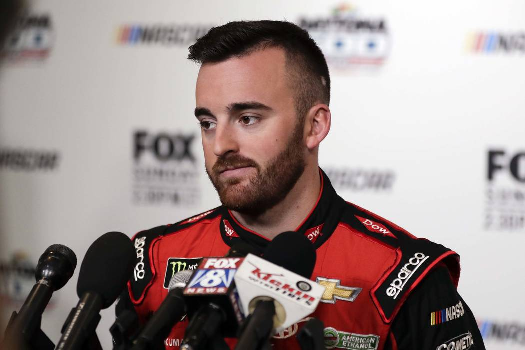 Austin Dillon during media day for the NASCAR Daytona 500 auto race at Daytona International Speedway, Wednesday, Feb. 14, 2018, in Daytona Beach, Fla. (AP Photo/John Raoux)