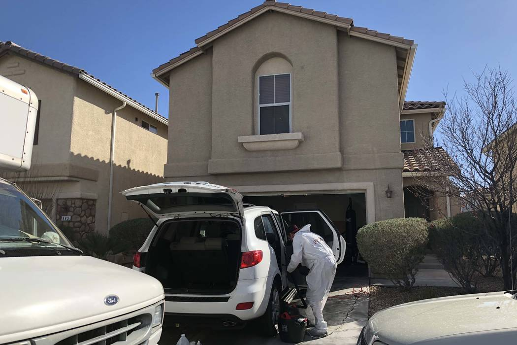 "Outside the Patagonia Ridge home Sunday morning, Metro homicide Lt. Dan McGrath said, ""We believe she was injured here."" (Briana Erickson/ Las Vegas Review-Journal)"