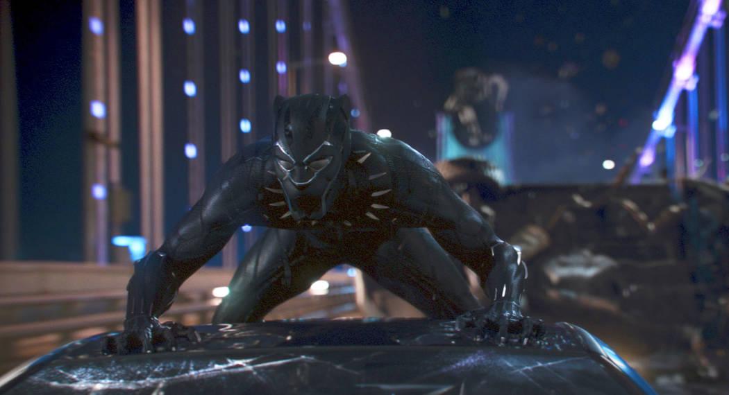 "A scene from Marvel Studios' ""Black Panther."" (Matt Kennedy/Marvel Studios-Disney via AP)"