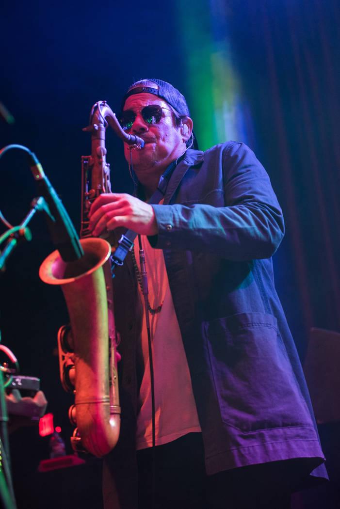 Lettuce saxophonist Ryan Zoidis roars at Brooklyn Bowl on Tuesday. (Karl Larson/Kabik Photo Group)