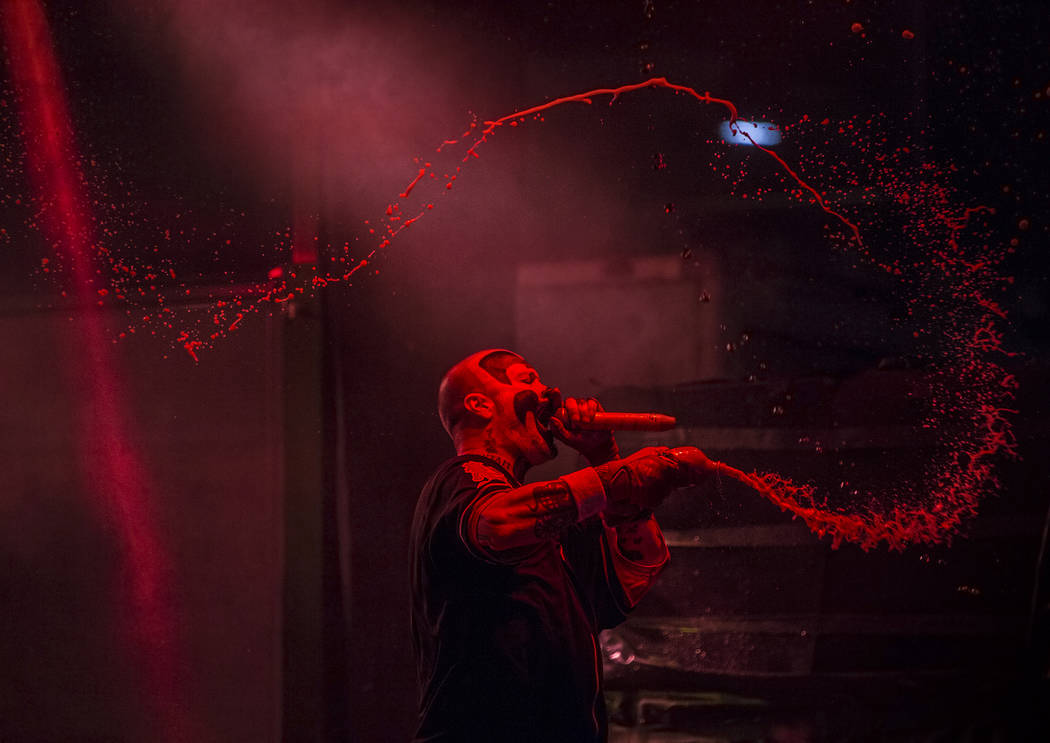 Insane Clown Posse's Violent J performs while spraying Faygo soda into the crowd during Juggalo Weekend on Saturday, February 17, 2018, at Fremont Country Club, in Las Vegas. Benjamin Hager Las Ve ...