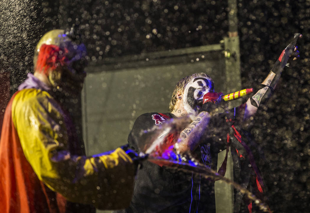 Insane Clown Posse's Shaggy 2 Dope, right, performs during Juggalo Weekend on Saturday, February 17, 2018, at Fremont Country Club, in Las Vegas. Benjamin Hager Las Vegas Review-Journal @benjaminh ...
