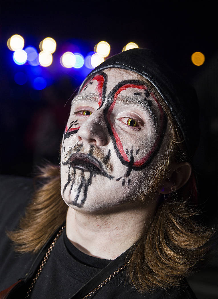 """Jacob Jeniune, known as """"Mr. F"""" at Insane Clown Posse's Juggalo Weekend on Saturday, February 17, 2018, at Fremont Country Club, in Las Vegas. Benjamin Hager Las Vegas Review-Jou ..."""