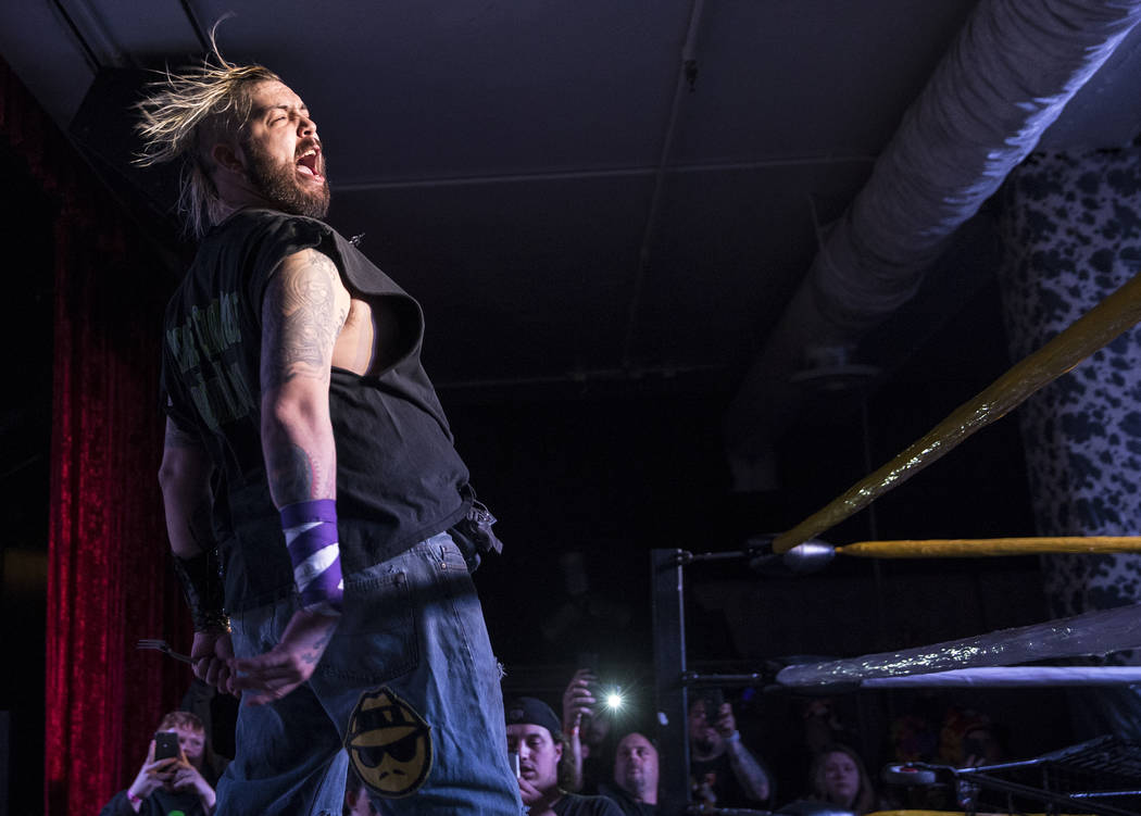 Chuey Martinex fires up the crowd before the start of his JCW wrestling match with Homeless Jimmy during Insane Clown Posse's Juggalo Weekend on Saturday, February 17, 2018, at Backstage Bar & ...