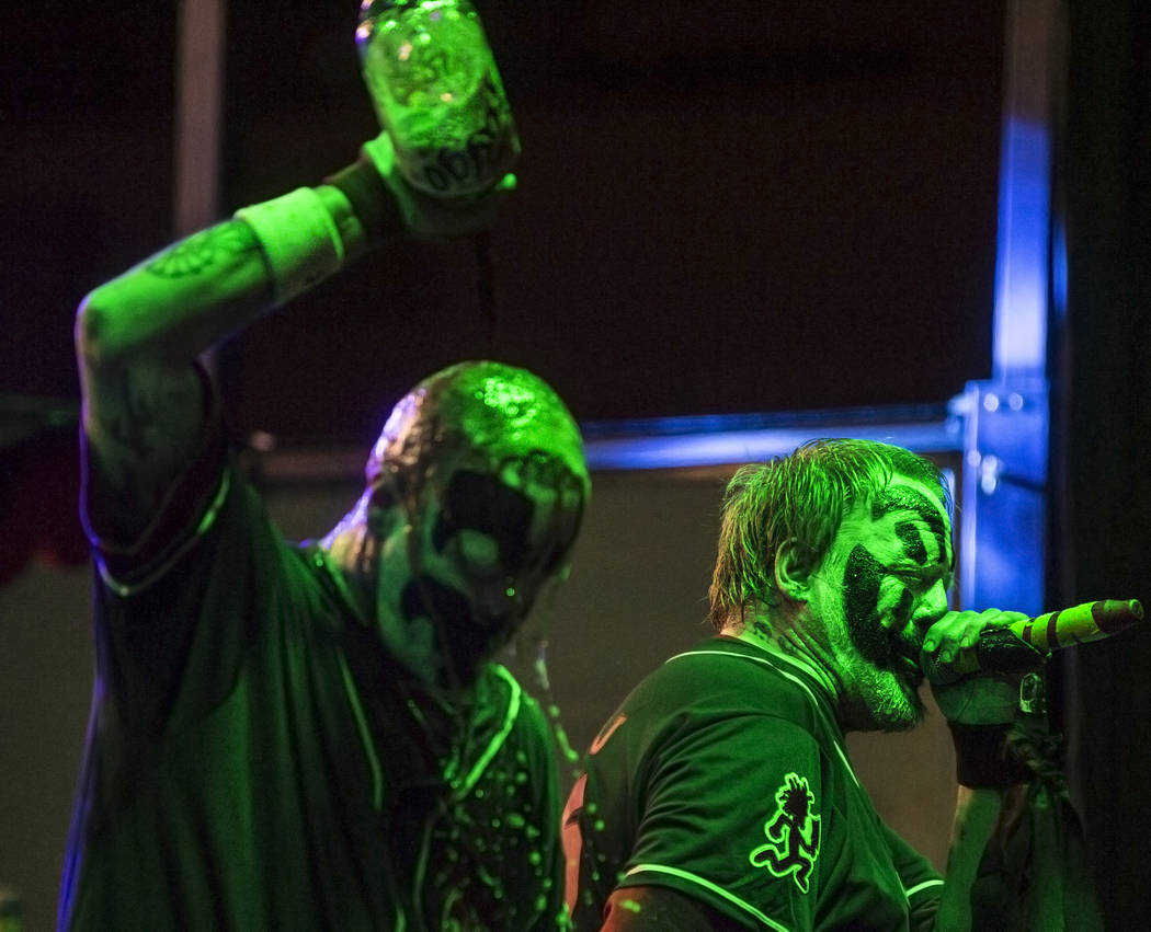 Insane Clown Posse's Shaggy 2 Dope, right, and Violent J perform during Juggalo Weekend on Saturday, February 17, 2018, at Fremont Country Club, in Las Vegas. Benjamin Hager Las Vegas Review-Journ ...