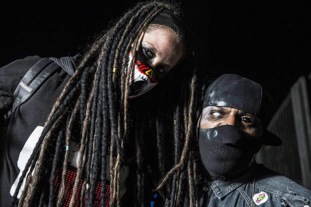 Markie Thomas, left, and Alex Perkins at Insane Clown Posse's Juggalo Weekend on Saturday, February 17, 2018, at Fremont Country Club, in Las Vegas. Benjamin Hager Las Vegas Review-Journal @benjam ...